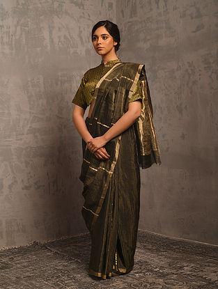 Brown Handwoven Tissue Silk Saree