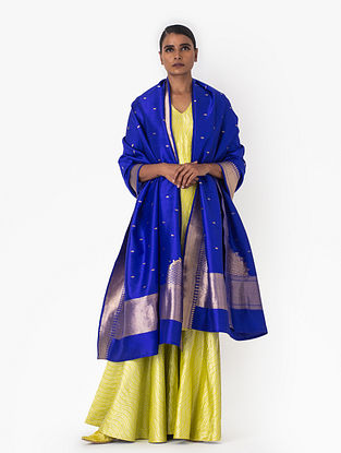 Blue Handwoven Silk Dupatta