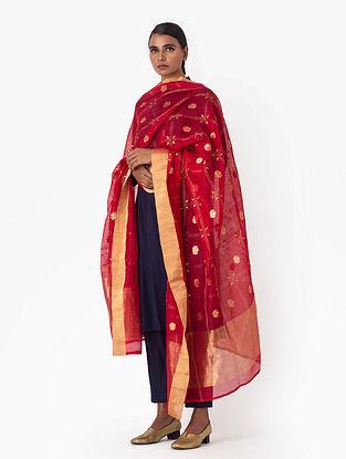 Red Handwoven Cotton Silk Dupatta