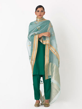 Blue Handwoven Cotton Silk Dupatta