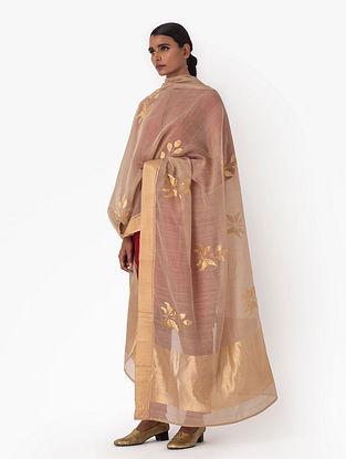 Beige Brown Handwoven Cotton Silk Dupatta