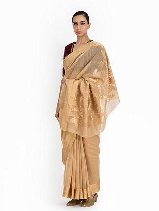 Beige Handwoven Cotton Silk Saree
