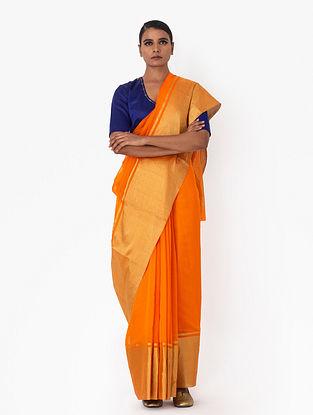 Orange Handwoven Chanderi Silk Saree