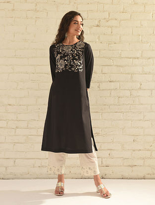 Black Embroidered Cotton Kurta