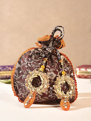 Brown Handcrafted Vintage Brocade Potli