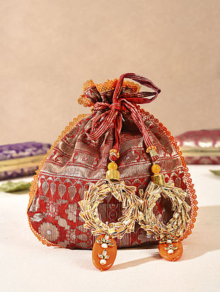 Red Handcrafted Vintage Brocade Potli