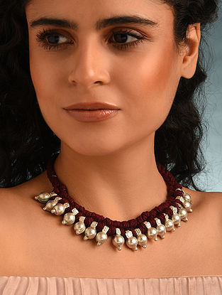 Maroon Silver Tone Tribal Necklace