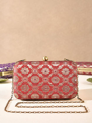Red Medium Sized Vintage Brocade Clutch