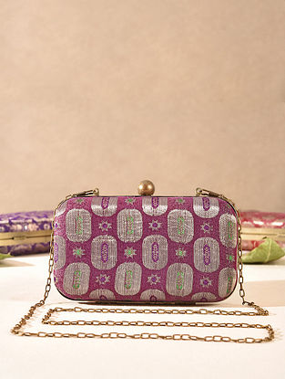 Purple Small Sized Vintage Brocade Clutch