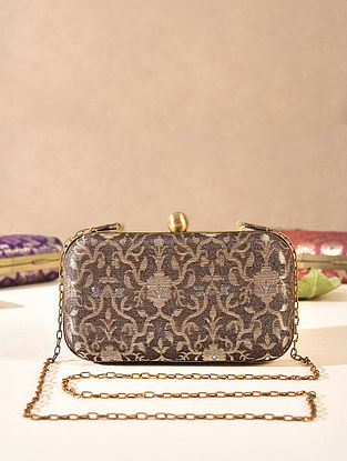 Brown Small Sized Vintage Brocade Clutch