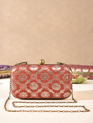 Red Small Sized Vintage Brocade Clutch