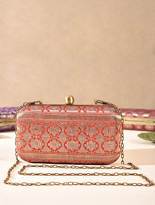 Rust Orange Small Sized Vintage Brocade Clutch