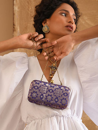 Navy Blue Small Sized Vintage Brocade Clutch