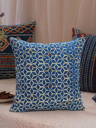 Multicolored Dabu Embroidered Cushion Cover (L-16in, W-16in)