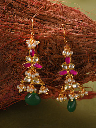 Green Pink Gold Tone Kundan Earrings With Pearls
