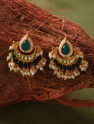Green Gold Tone Kundan Beaded Earrings