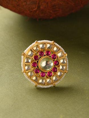 Red Gold Tone Kundan Beaded Adjustable Ring
