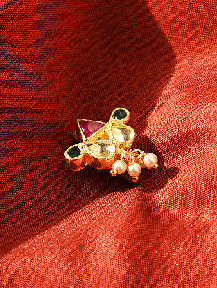 Red Green Gold Tone Kundan Noseclip With Pearls