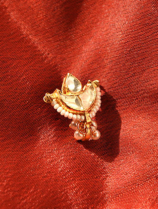 Gold Tone Kundan Noseclip With Pearls