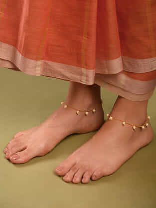 Gold Tone Pearl Beaded Anklets