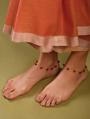 Maroon Gold Tone Beaded Anklets