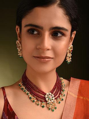 Maroon Green Gold Tone Kundan Beaded Necklace With Earrings