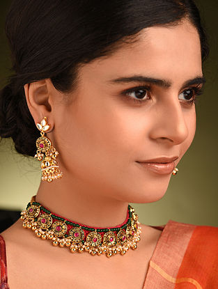 Green Red Gold Tone Kundan Necklace And Jhumki Earrings With Pearls