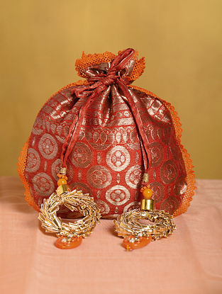 Rust Orange Handcrafted Vintage Brocade Potli