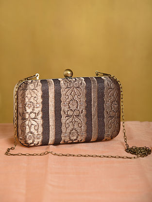 Brown Handcrafted Medium Sized Vintage Brocade Clutch