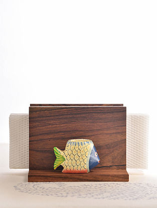 Brown-Multicolored Handcrafted Sheesham Wood Napkin Holder with a Fish Toothpick Holder (L - 3.7in, W - 5.5in, H - 4in)