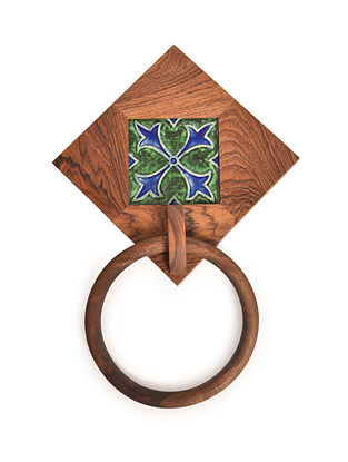 Brown-Multicolored Handcrafted Teak Wood and Sheesham Wood Towel Holder with Ceramic Tile (L - 12in, W - 8in, H - 2in)