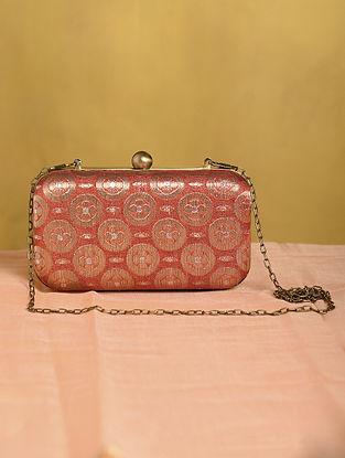 Red Handcrafted Small Sized Vintage Brocade Clutch