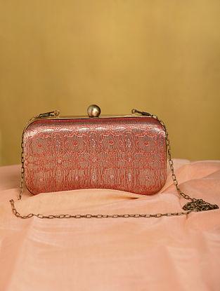 Orange Handcrafted Small Sized Vintage Brocade Clutch