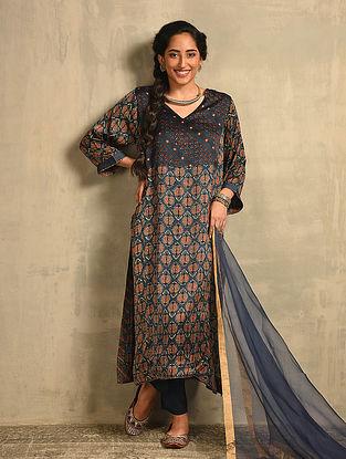 Indigo Natural Dyed Ajrakh Printed Modal Kurta
