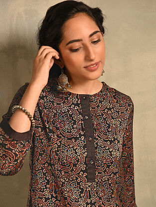 Black Natural Dyed Ajrakh Printed Modal Kurta