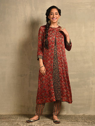 Red Natural Dyed Ajrakh Printed Modal Overlay with Hand Embroidery