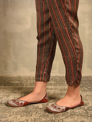 Red Natural Dyed Ajrakh Printed Elasticated Waist Modal Pants