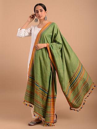 Green Handloom Bhujodi  Cotton Dupatta