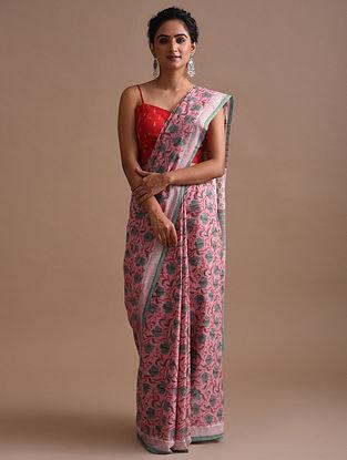 Pink Block Print Cotton Mul Saree