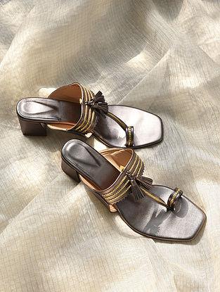 Metallic Grey Handcrafted Leather Kolhapuri Block Heels