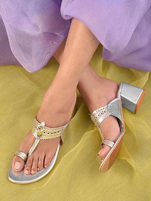 Silver Handcrafted Leather Kolhapuri Block Heels