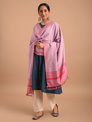 Pink Handloom Bhujodi  Cotton Dupatta
