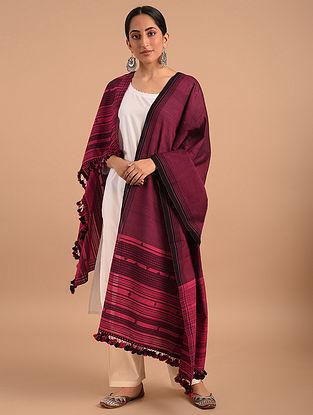 Maroon Handloom Bhujodi  Cotton Dupatta