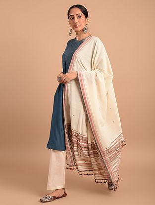 Off White Handloom Bhujodi  Cotton Dupatta
