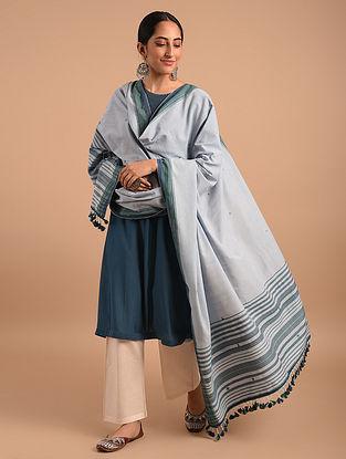 Grey Handloom Bhujodi  Cotton Dupatta