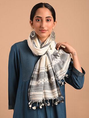White Handloom Bhujodi  Cotton Stole