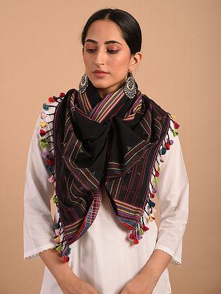 Black Handloom Bhujodi  Cotton Stole