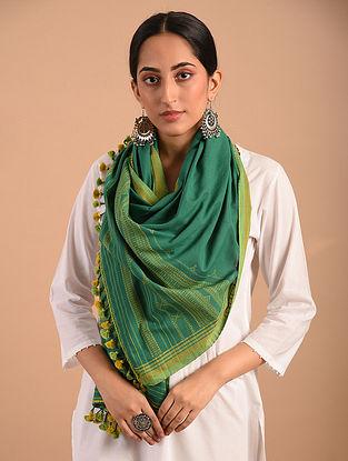 Green Handloom Bhujodi  Cotton Stole