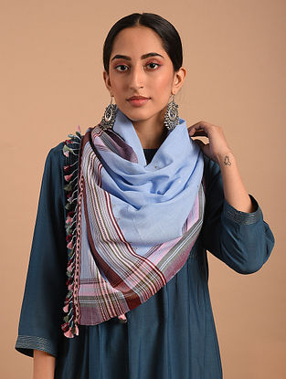 Blue Handloom Bhujodi  Cotton Stole