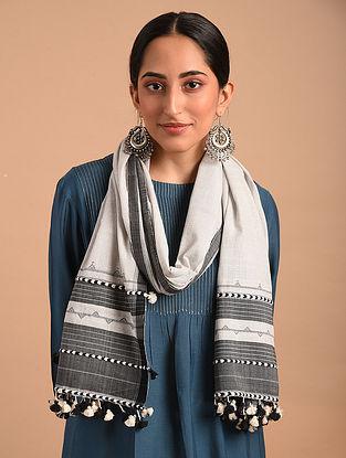 Grey Handloom Bhujodi  Cotton Stole